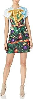 فستان حريمي مطبوع عليه شجرة أجلي كريسماس من Faux Real