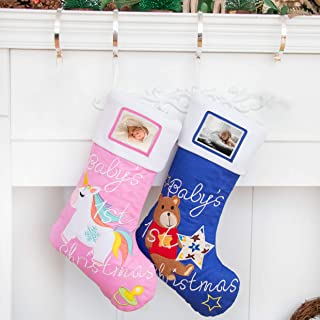 BHD BEAUTY 2019 Baby Boy's 1st Christmas Stockings with Photo Frame Personalized Baby's Picture 21 inches Blue Bear (1 Pack)