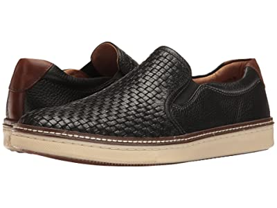 Johnston & Murphy McGuffey Woven Casual Slip-On Sneaker (Black Full Grain) Men