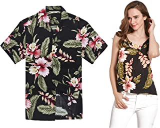 4162d62f494e3 Couple Matching Hawaiian Luau Outfit Aloha Shirt and Tank Top in Rafelsia  in 2 Colors