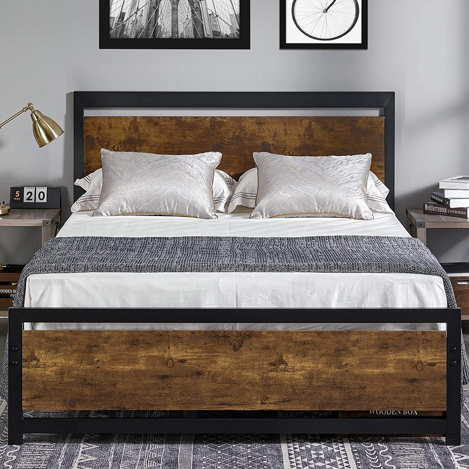 Amerlife Queen Size Bed Frame with Wood Headboard - Metal Platform Bed with Industrial Footboard - Heavy Duty Steel Mattress Foundation/ 4 U-Shaped Support Frames/Rustic Country Style/Easy Assembly