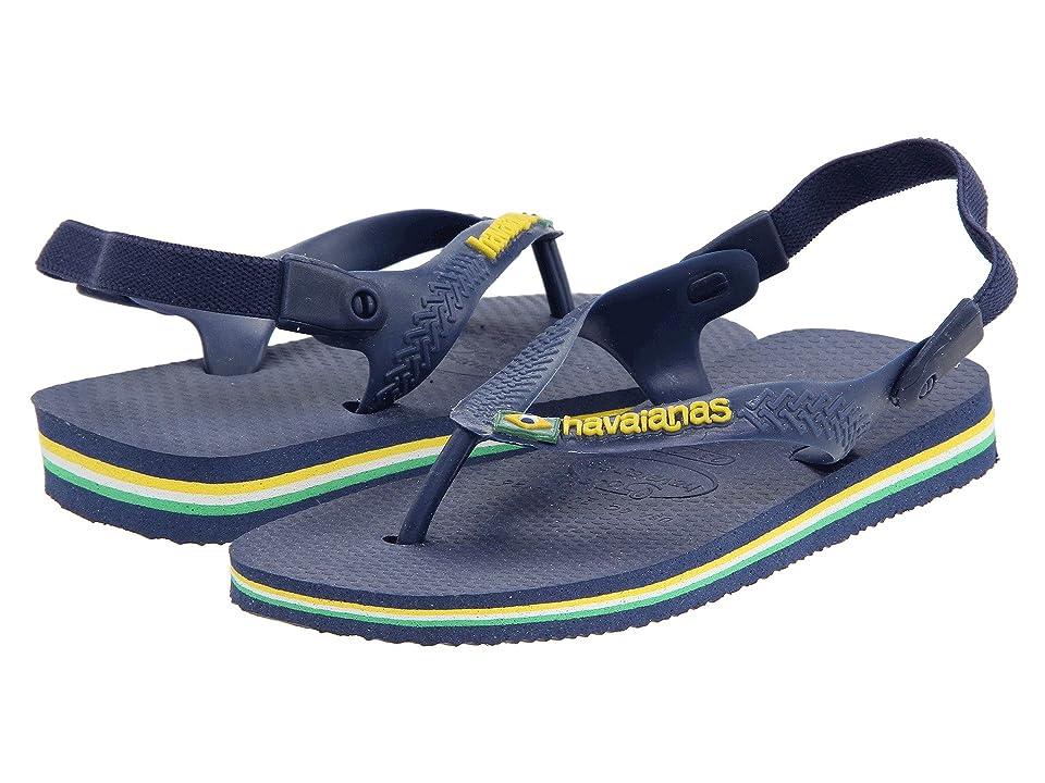 Havaianas Kids Baby Brasil Logo Flip Flops (Toddler) (Navy/Yellow) Boy