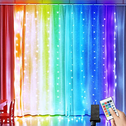 Window Curtain Lights, Connectable 17 Color Changing Fairy String Lights with Remote Timer Plug, Pink Blue Window Lig...