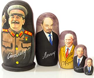 craftsfromrussia Nesting Doll - Russian Leaders (6.75``(5 Dolls in 1), Joseph Stalin)
