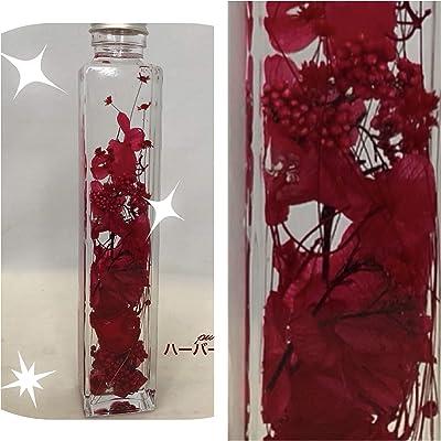 【puriza】ハーバリウム ドライフラワー プリザーブドフラワー ボトルサイズ直径45mm高さ215mm グリーン (赤)
