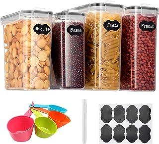 Aitsite 2.5L/4L Vorratsdosen Set, Müslidosen Aufbewahrungsbox Frischhaltedosen, Küche Luftdicht Behälter BPA frei Kunststoff Vorratsdosen, Set mit 4  8 Etiketten für Getreide, Mehl, Zucker Schwarz
