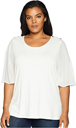 Plus Size Flutter Sleeve Top w/ Buttons