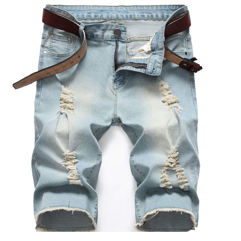 Men's Summer Ripped Distressed Jeans Shorts Slim Fit Knee Length Washed Denim Jeans Men Casual Stretchy Short Pants (34,Nostalgic blue)