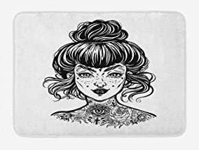 Lunarable Tattoo Bath Mat, Inked Woman Portrait with Vintage Bun Hair Tattoos Piercings and Wrinkles, Plush Bathroom Decor Mat with Non Slip Backing, 29.5