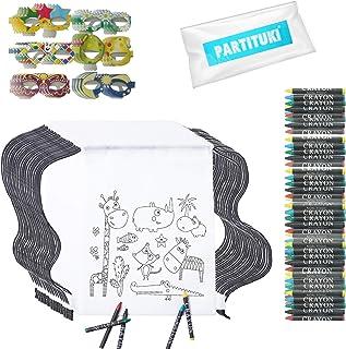 Partituki Fiesta Cumpleaños Infantil. 30 Mochilas de Colorear, 30 Sets de 5 Ceras de Colores y 30 Máscaras. Ideal para Regalos de Fiestas de Cumpleaños y Escolares