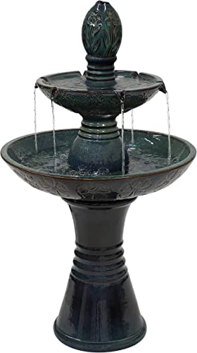 2021 Sunnydaze Double outlet sale Tier Outdoor Ceramic Fountain with outlet online sale LED Lights - Outside Decorative Water Feature for Garden, Patio, Backyard, Lawn, Porch and Balcony - 38-Inch outlet sale