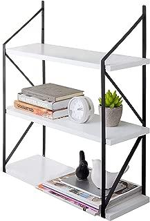 MyGift Modern 3-Tier White Wood Hanging Wall Shelf with Black Metal Brackets