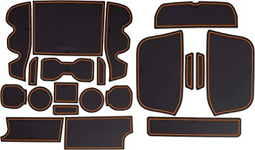 Custom Fit Cup, Door Center Console Liner Accessories for Toyota Tacoma 2019 2018 2017 2016 19PC Set (Double Cab, Orange Trim)