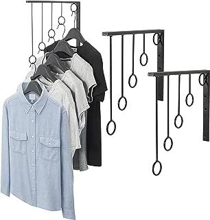MyGift Wall Mounted Set of 3 Garment Racks, 5 Ring Clothing Organizers, Black
