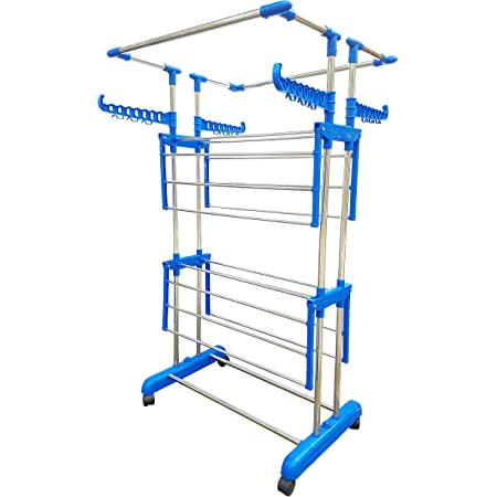 Vblue Stainless Steel Heavy Duty 2Layer Clothes Drying Rack Stand with Hanger Stainless Steel Floor Cloth Dryer Stand