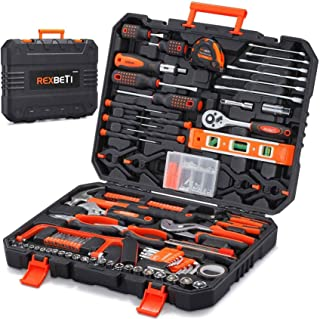 REXBETI 217-Piece Tool Kit, General Household Hand Tool Set with Solid Carrying Tool Box, Auto...