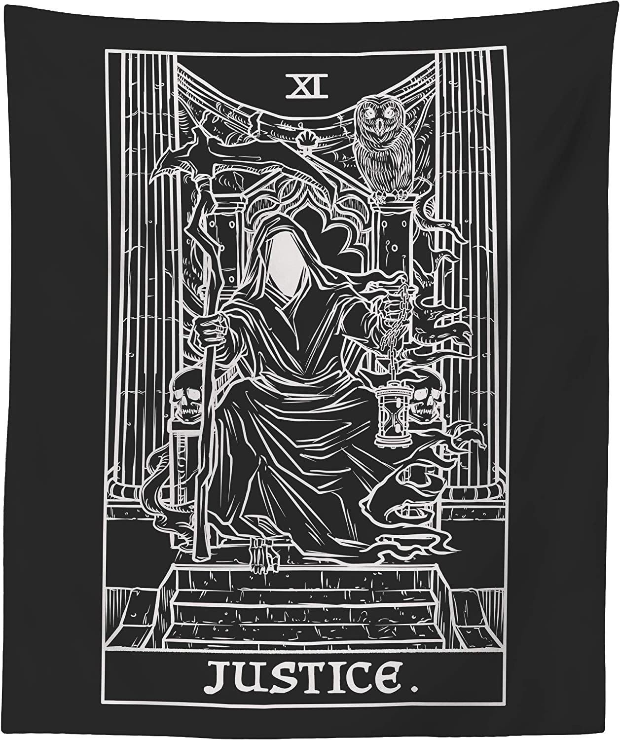 The Ghoulish Garb Justice Tarot Card Tapestry (Black & White) - Grim Reaper - Gothic Halloween Home Decor Wall Hanging (60