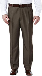 Haggar Men's Big & Tall Cool Gabardine Expandable-Waist Plain-Front Pant