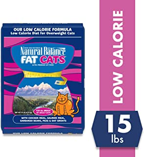 Natural Balance Fat Cats Low Calorie Dry Cat Food, Chicken Meal, Salmon Meal, Garbanzo Beans, Peas & Oat Groats, for Overweight Cats