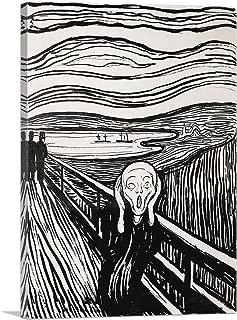 ARTCANVAS The Scream Black and White 1895 Canvas Art Print by Edvard Munch - 12