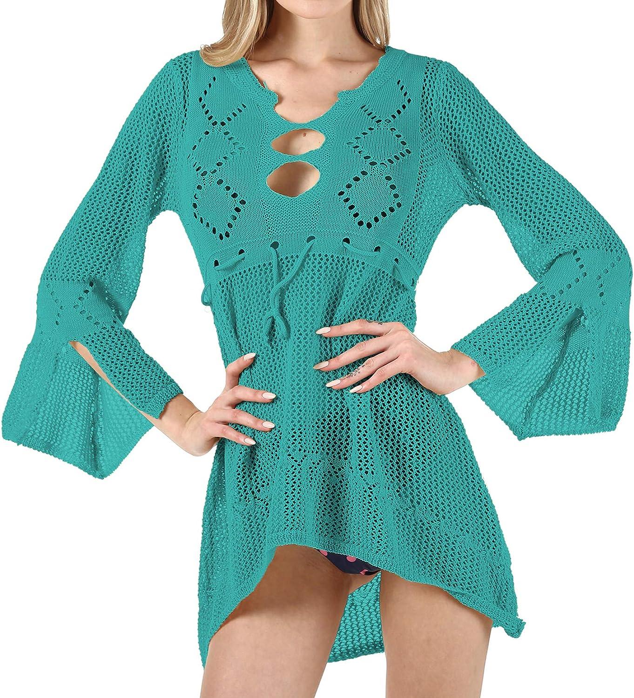 Lu's Chic Women's Crochet Beach Dress Long Sleeve Cover Up V Neck Bathing Suit Coverups Knit