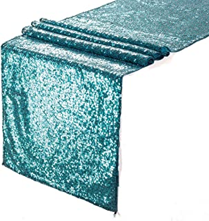 Eternal Beauty 12'' X 60'' Teal Sequin Table Runner Home Party Wedding Table Decoration