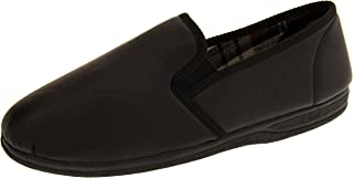 Mens Faux Leather Twin Gussett Slippers
