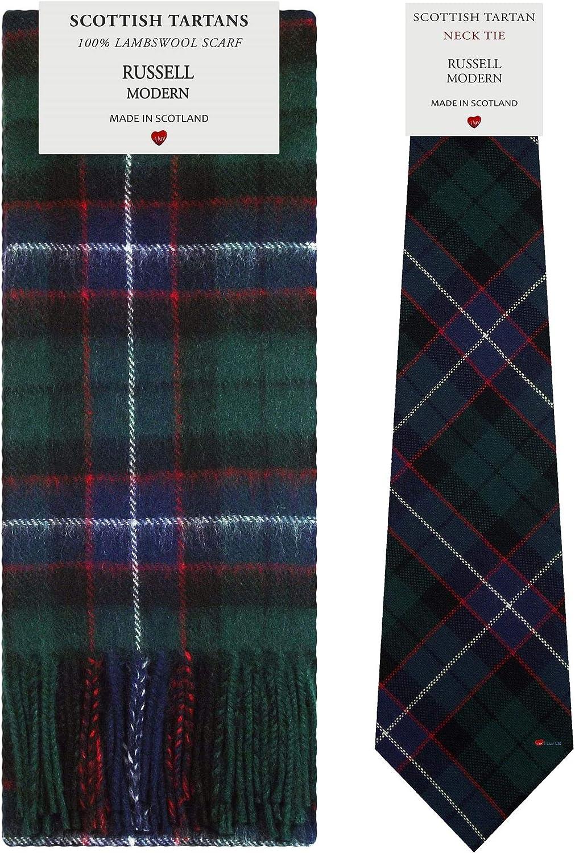 Russell Modern Tartan Plaid 100% Lambswool Scarf & Tie Gift Set