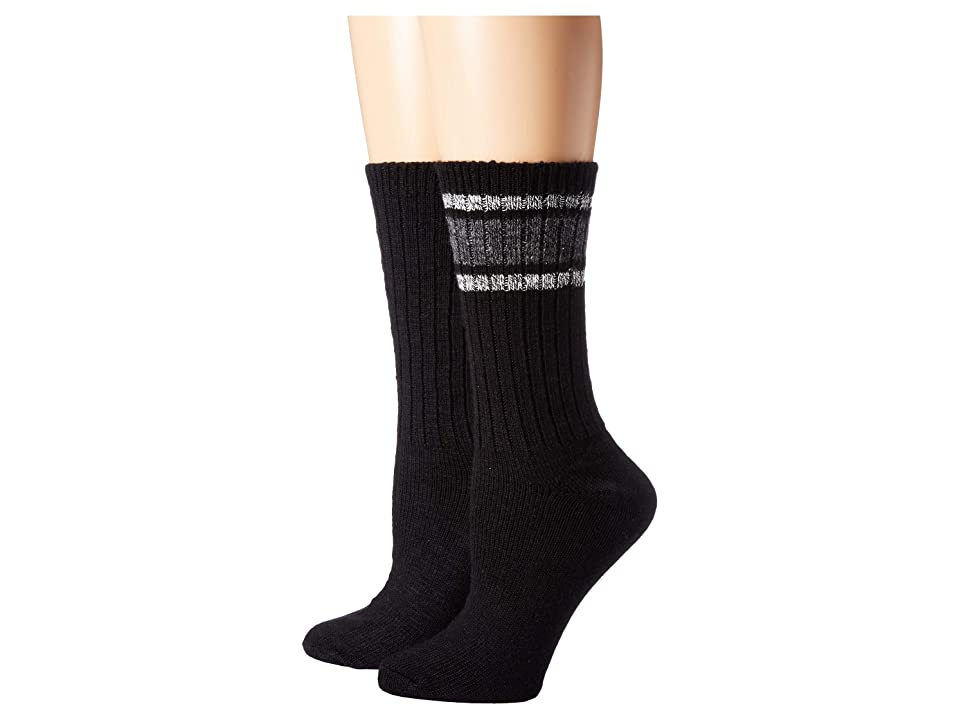 HUE Marled Stripe Boot Socks 2-Pair Pack (Black) Women's Crew Cut Socks Shoes