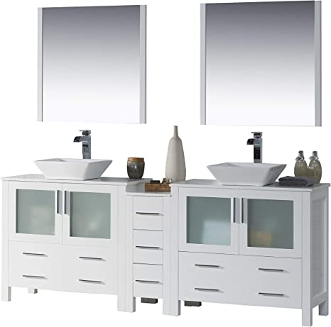 Amazon Com Blossom Sydney 84 Inches Double Vessel Sink Bathroom Vanity Side Cabinet Vessel Ceramic Sink With Mirror All Wood Glossy White 001 84 01d 1616v Tools Home Improvement