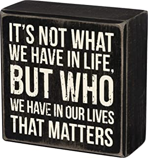 Primitives by Kathy 35144 Classic Black and White Box Sign, 4 x 4-Inches, Who We Have