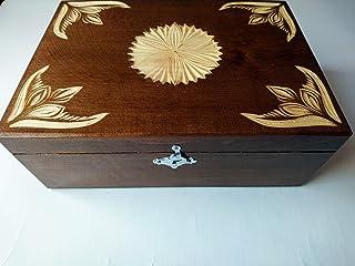 Nueva marrón caja de almacenamiento de joya de madera tallada a mano de té café regalo