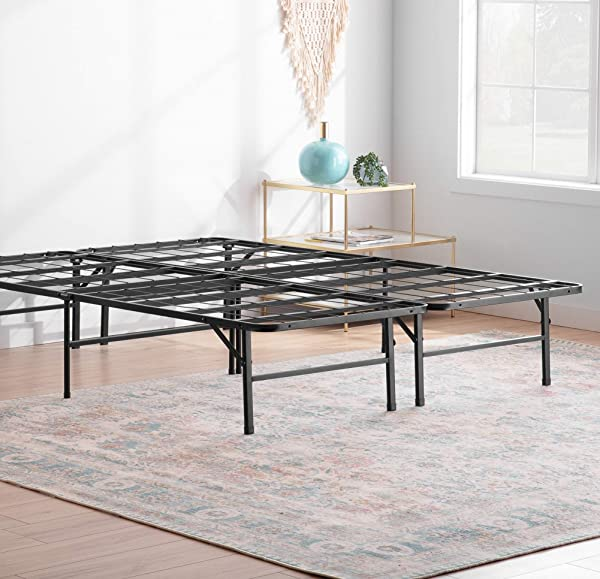 Linenspa 14 Inch Folding Metal Platform Bed Frame 13 Inches Of Clearance Tons Of Under Bed Storage Heavy Duty Construction 5 Minute Assembly Twin