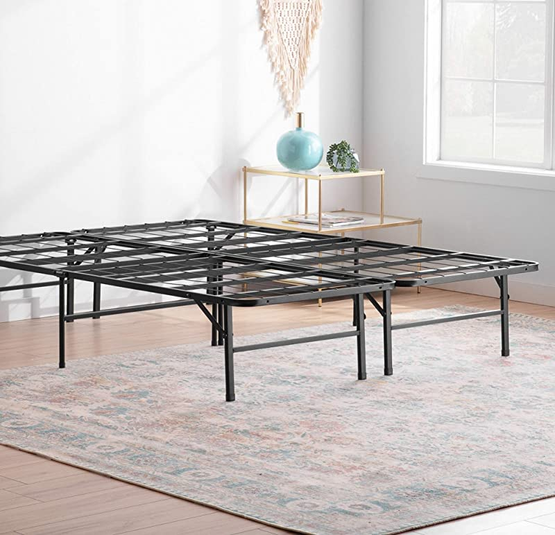 Linenspa 14 Inch Folding Metal Platform Bed Frame 13 Inches Of Clearance Tons Of Under Bed Storage Heavy Duty Construction 5 Minute Assembly Queen