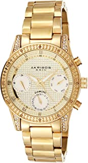 Akribos XXIV Diamond Studded Women's Watch – Mother of Pearl Chronograph, Day Date Subdials, Crystal Stone Case