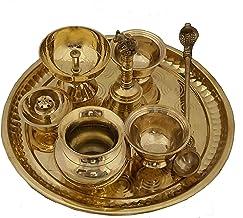 Pooja Thali Set Brass Decor Mandir Ethnic Puja Items Bhog Plate for Indian Festivals Diwali