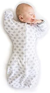 SwaddleDesigns Transitional Swaddle Sack with Arms Up Half-Length Sleeves and Mitten Cuffs, Tiny Hedgehogs, Small, 0-3mo, ...