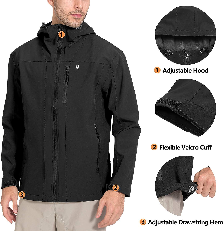 Little Donkey Andy Men's Rain Hiking Jackets Waterproof Windproof Breathable Shell Coats Travel Fishing