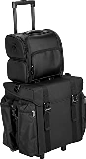 JustCase 2-In-1 Soft Sided Professional Rolling Cosmetic Organizer for Makeup Artist Tools, with 2 Clear Waterproof Pouches & Removable Shoulder Strap, Black Nylon