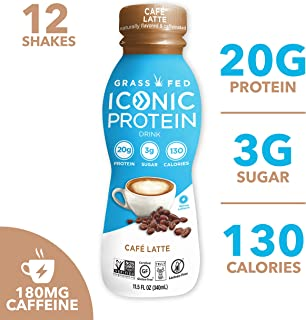 Iconic Protein Drinks, Cafe Latte (12 Pack) | Low Carb, High Protein Super Coffee | 20G..