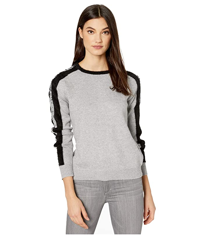 1.STATE  Sequin Stripe Crew Neck Eyelash Sweater (Light Heather Grey) Womens Sweater