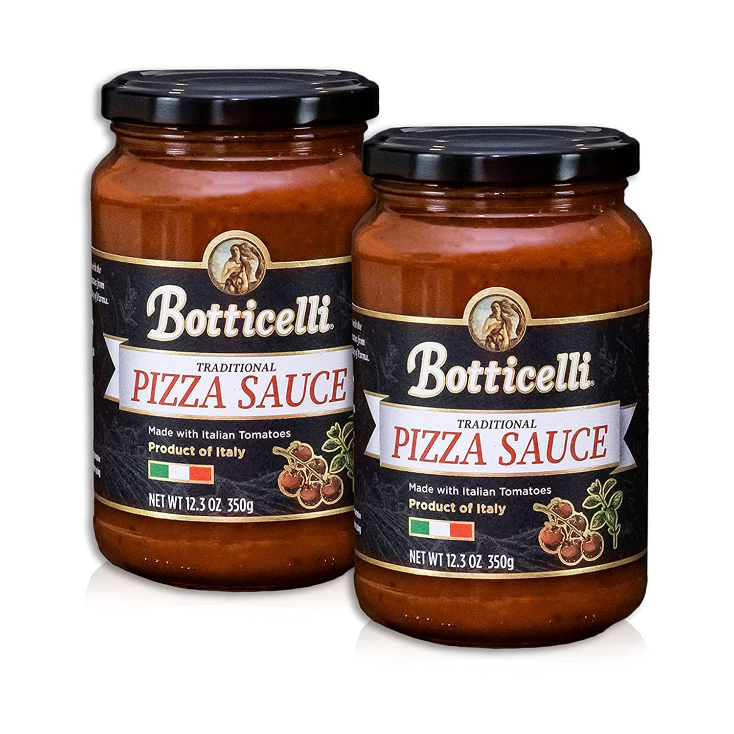 Botticelli Premium Italian Pizza Sauce for Authentic Italian Taste - (Pack of 2) - Whole30 Approved - Made in Italy, Low Carb, Low Sugar, Keto-Friendly Premium Italian Pizza Sauce - 12.3oz
