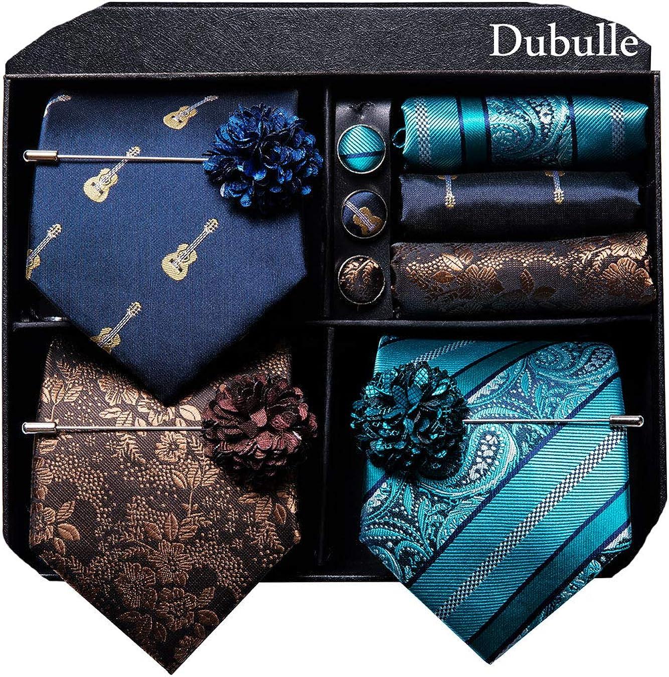 Dubulle Lot 3 PCS Classic Men's Silk Tie Set Paisley Stripe Necktie for Men Pocket Square Gift Box Multiple Sets