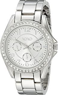 Women's Analog Watch with Silver-Tone Case, Crystal-Inset Bezel, Silver-Tone Sunray Dial - Official XOXO Woman's Watch, Link Bracelet with Push-Button Clasp - Model: XO172