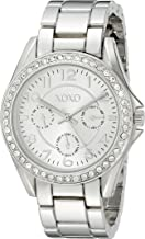 XOXO Women's Analog Watch with Silver-Tone Case, Crystal-Inset Bezel, Silver-Tone Sunray Dial - Official XOXO Woman's Watch, Link Bracelet with Push-Button Clasp - Model: XO172