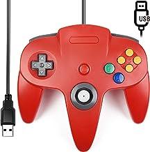 [USB Version] Classic N64 Controller, SAFFUN N64 Wired USB PC Game pad Joystick, N64 Bit USB Wired Game Stick for Windows PC MAC Linux Genesis Raspberry Pi Retropie Emulator [Plug & Play] (Red)