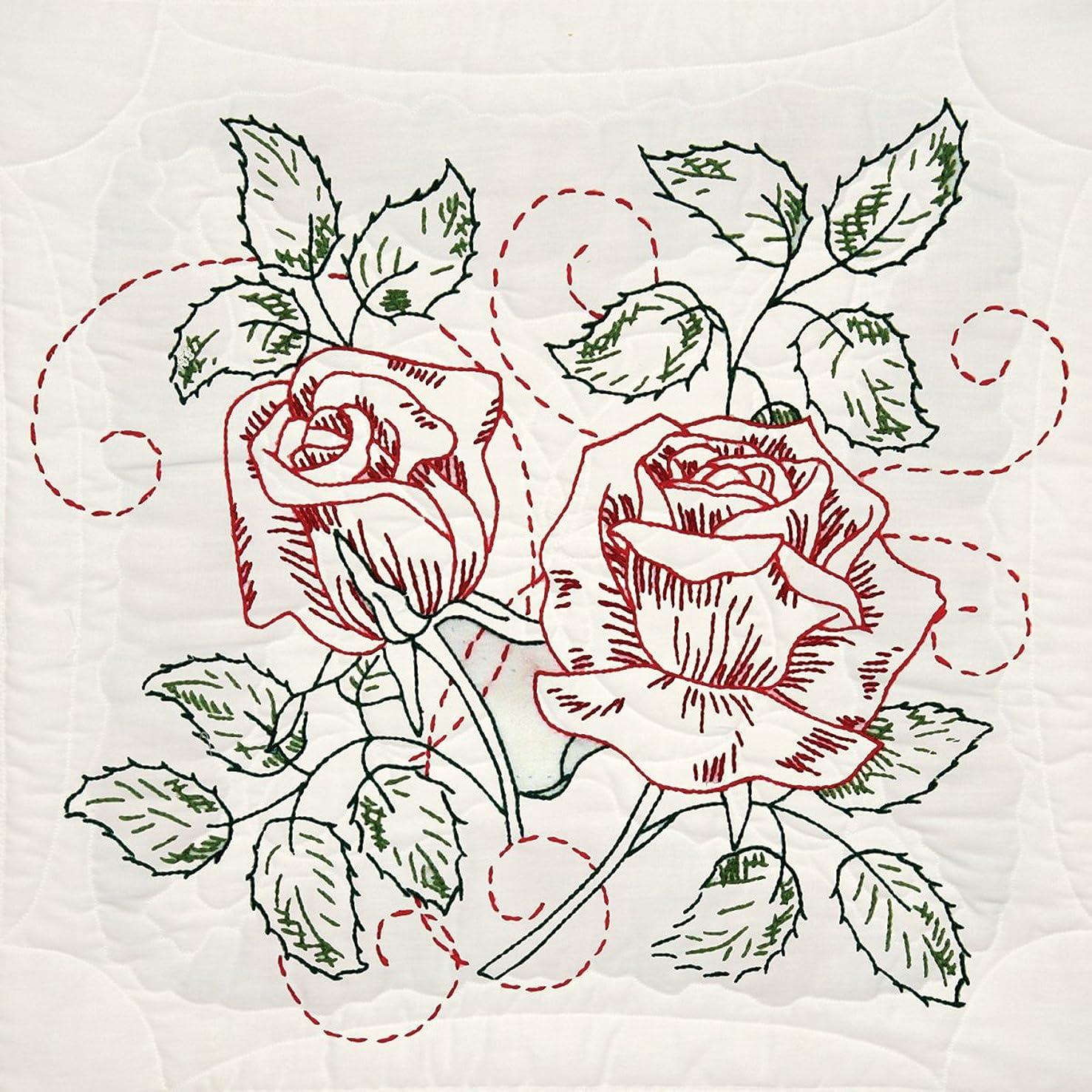 Fairway 98106 Quilt Blocks, Rose Delight Design, White, 6 Blocks Per Set