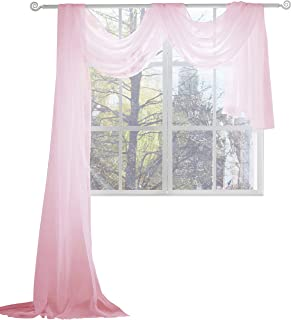 KEQIAOSUOCAI Pink Sheer Window Scarf Valance Sheer Fabric Scarves for Wedding Baby Shower Party 52 Inch Width by 216 Inch Length