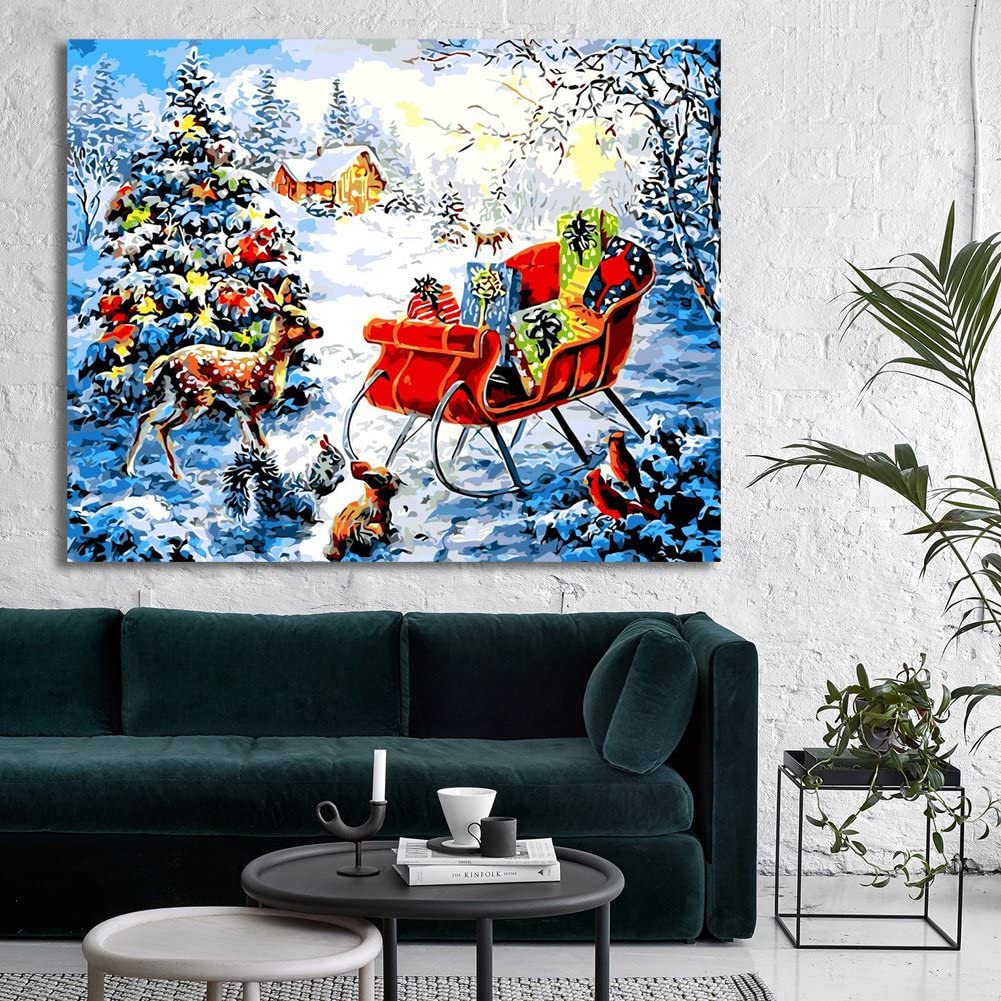 RIHE Wood Frame Paint by Numbers DIY Oil Painting Christmas Xmas Gift Canvas Print Wall Art Home Decoration