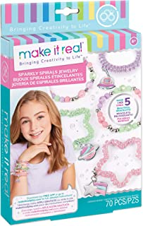 Make It Real - Sparkly Spiral Bracelets - DIY Charm Bracelet Making Kit - Friendship Bracelet Kit with Beads, Charms & Coi...